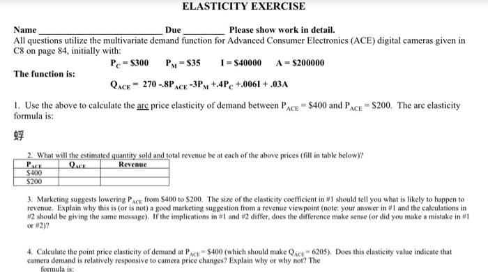 Solved Elasticity Exercise Need Question 4 Answered Cal