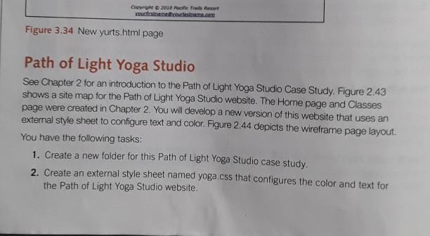 Solved Path Of Light Yoga Studio Chapter 3 Web Developmen Chegg Com