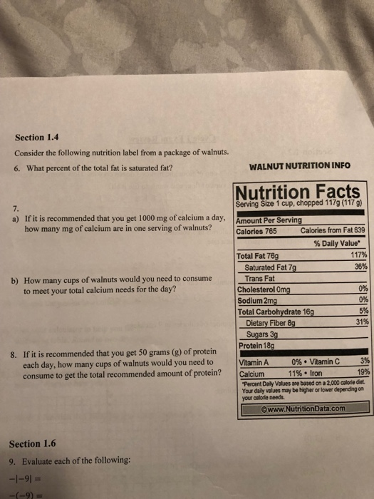 Solved: Section 1 4 Consider The Following Nutrition Label