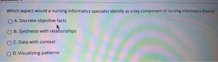 Which aspect would a nursing informatics specialist identify as a key component of nursing informatics theory? O A. Discrete