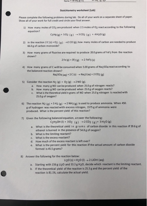 Solved Name Ful L U Stoichiometry Worksheet Lab Please Chegg Com