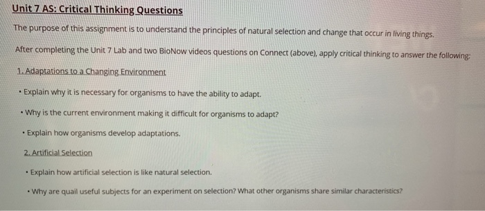 natural selection questions and answers