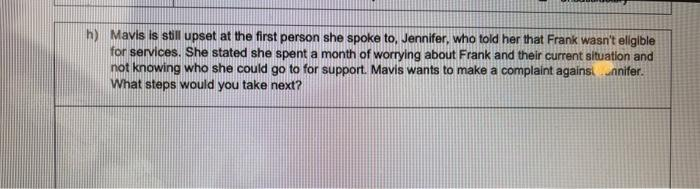 h) Mavis is still upset at the first person she spoke to, Jennifer, who told her that Frank wasnt eligible for services. She