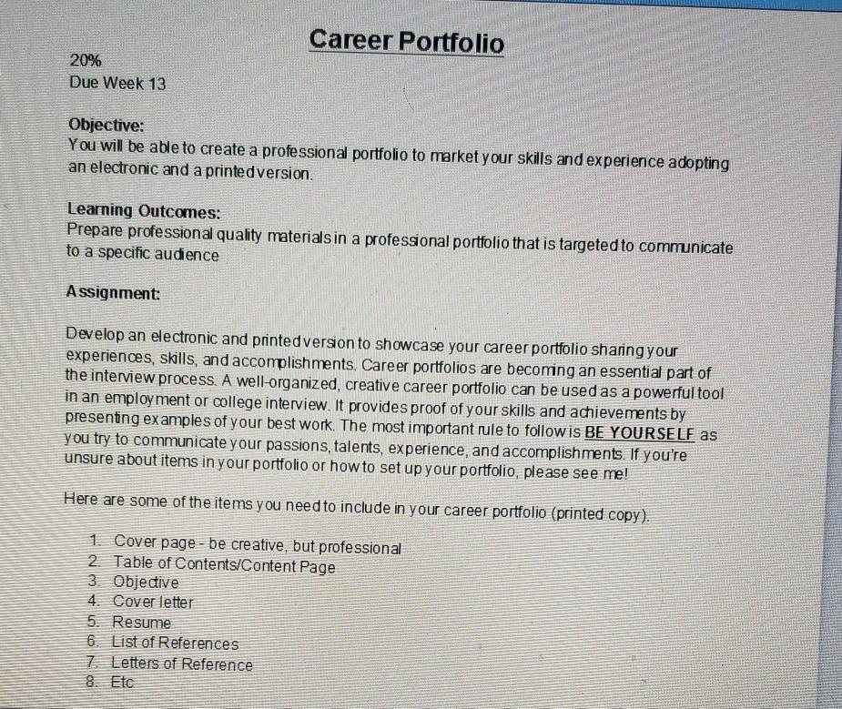 Career Portfolio 20 Due Week 13 Objective You Will Chegg Com