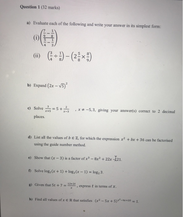 simplest form 7/12  Solved: Question 9 (9 Marks) A) Evaluate Each Of The Foll ...