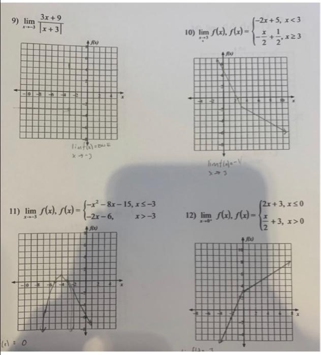 Solved: 9) Lim 1x +31 (-2x+5, X0 Lelo 13) Lim Pt=1 14) Lim