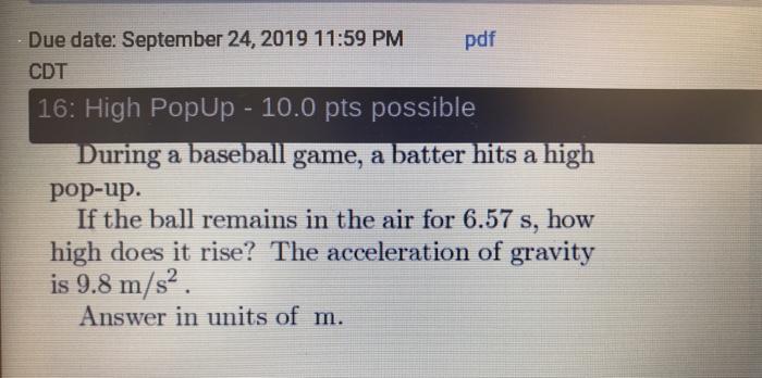 Solved: Due Date: September 24, 2019 11:59 PM Pdf CDT 16