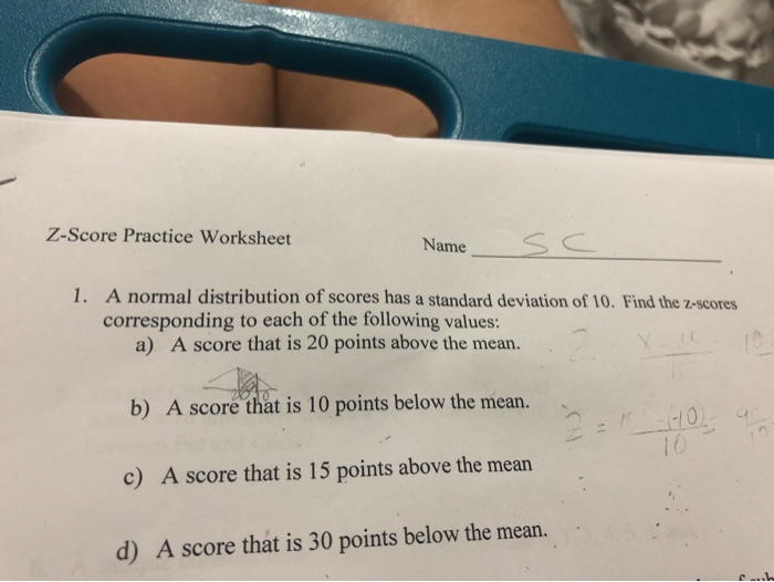 Solved: Z-Score Practice Worksheet Name 1. A Normal Distri ...