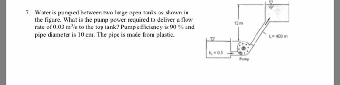 Solved: 7  Water Is Pumped Between Two Large Open Tanks As