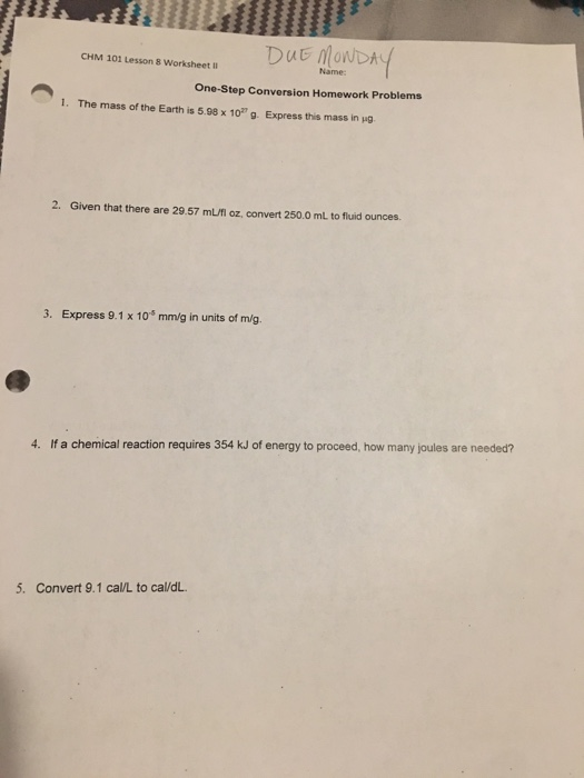 Solved: CHM 101 Lesson 8 Worksheet DUE MONDAY One-Step Con ...