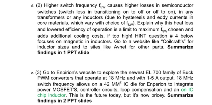 1  (15 Points Total) Switch Frequency Choices In P