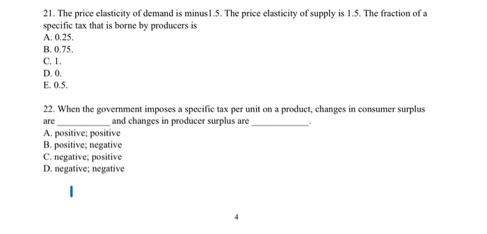 Solved 21 The Price Elasticity Of Demand Is Minus 1 5 T