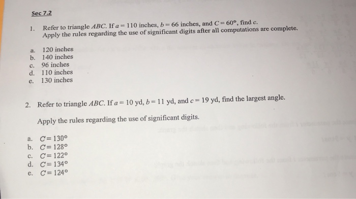 Sec 7 2 1 Refer To Triangle Abc If A
