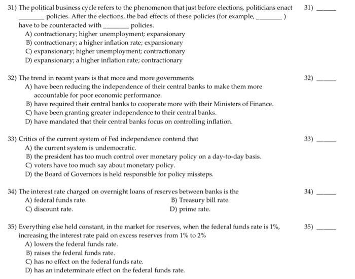 Solved: 31) The Political Business Cycle Refers To The Phe