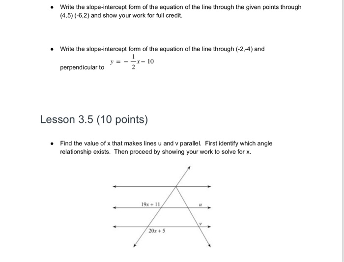 slope intercept form questions  Solved: Write The Slope-intercept Form Of The Equation Of ...