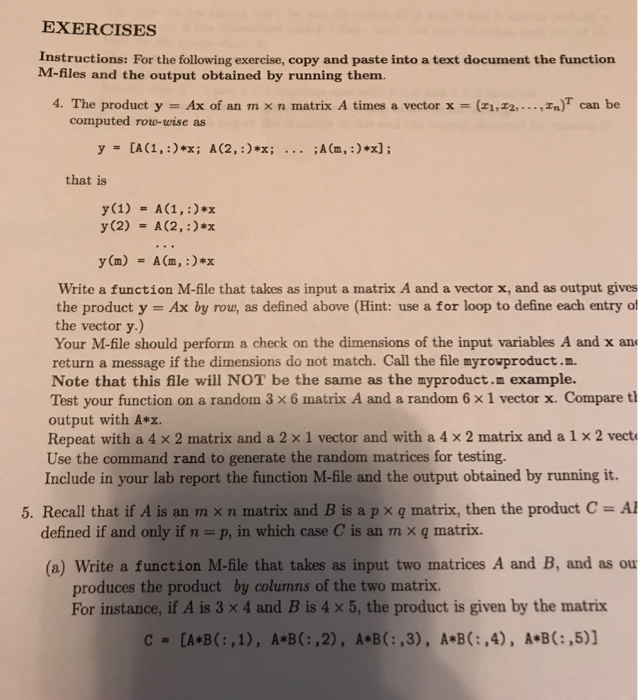 Solved Exercises Instructions For The Following Exercise Chegg Com