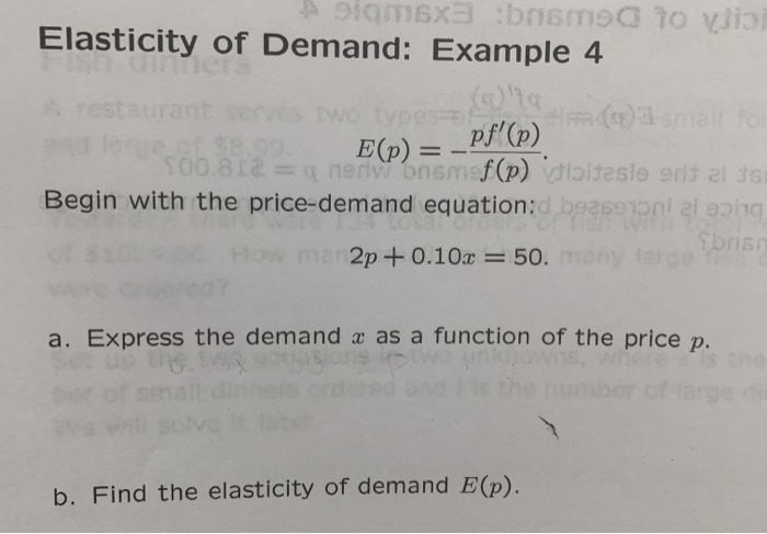 Solved Aeigmx Bnsms O Vlio Elasticity Of Demand Example