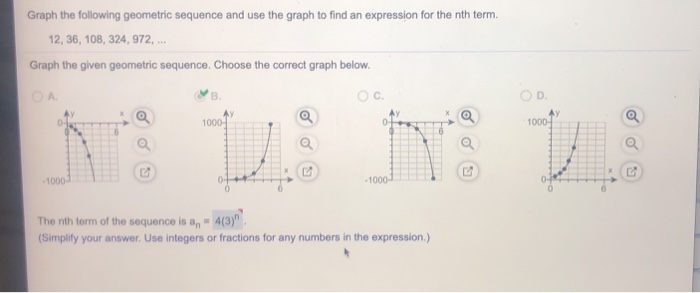 Solved: Graph The Following Geometric Sequence And Use The
