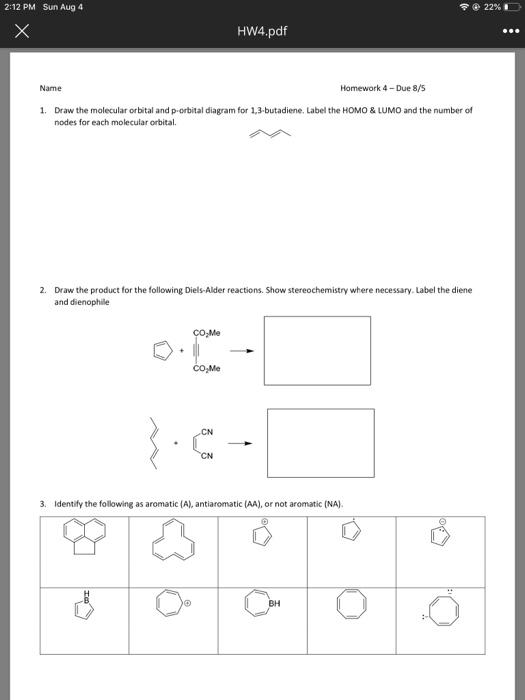 Solved: 2:12 PM Sun Aug 4 22% Х HW4 pdf Name Homework 4-Du