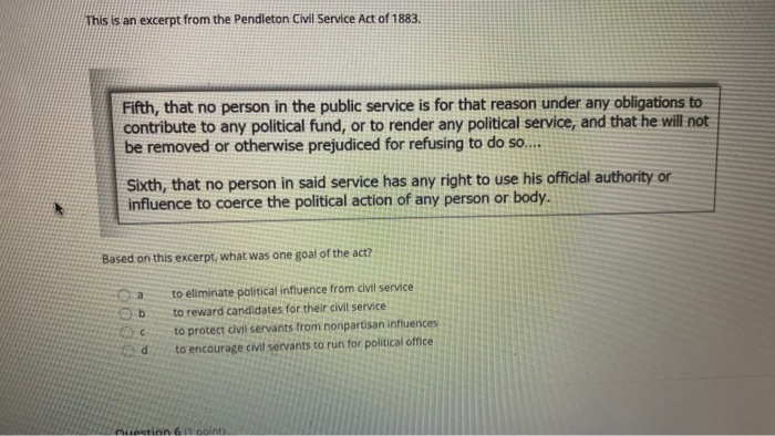 This is an excerpt from the Pendleton Civil Service Act of 1883. Fifth, that no person in the public service is for that reas