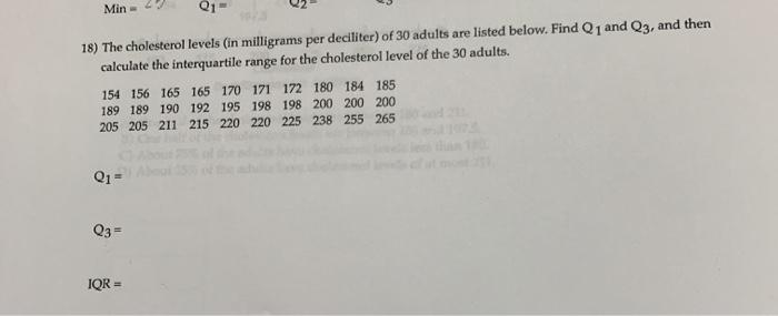 Solved 18 The Cholesterol Levels In Milligrams Per Deci Chegg Com