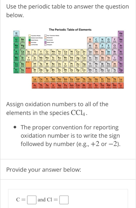 Solved Use The Periodic Table To Answer The Question Belo