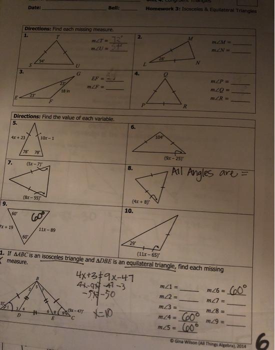 Solved: Date: Bell: Homework 3: Isosceles & Equilateral Tr... Chegg.com
