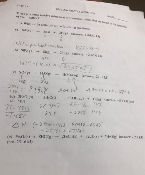 Solved: Chem 1a HESS LAW PRACTICE WORKSHEET These Problems ...
