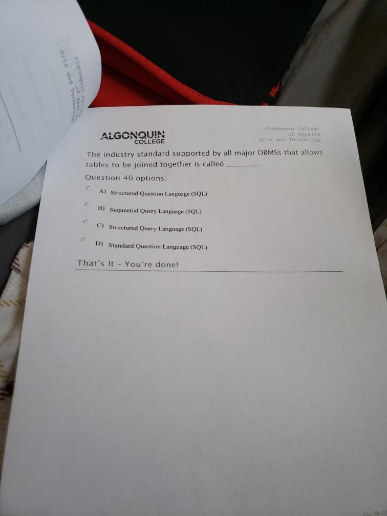 Solved Arts And Tech Tnbuch Of Idol Algonquina Algonquin Chegg Com