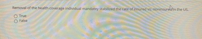 Removal of the health coverage individual mandatey stabilized the rate of insured vs. noninsureb in the US. O True False