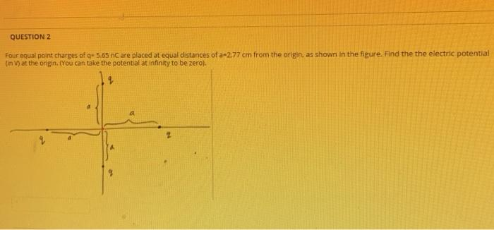 QUESTION 2 Four equal point charges of q-5.65 n are placed at equal distances of a 2.77 cm from the origin, as shown in the f