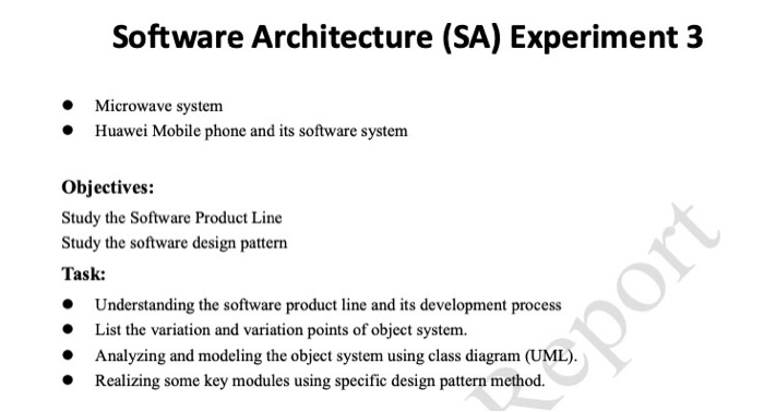 Solved Software Architecture Sa Experiment 3 Microwave Chegg Com