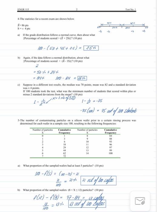 engris 4 the statistics for a recent exam are show chegg com chegg