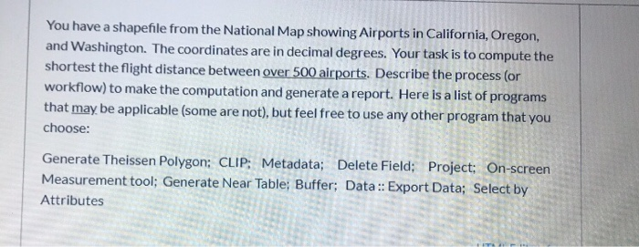 Solved: You Have A Shapefile From The National Map Showing ...