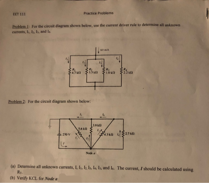 Solved: EET 111 Practice Problems Problem 1: For The Circu ... on circuit drawing practice, venn diagram practice, parallel circuit practice, theory practice,