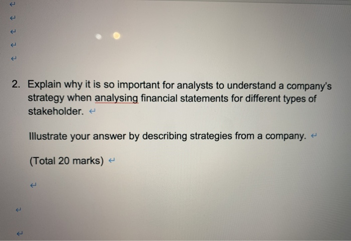 1 1 1 1 1 2. Explain why it is so important for analysts to understand a companys strategy when analysing financial statemen