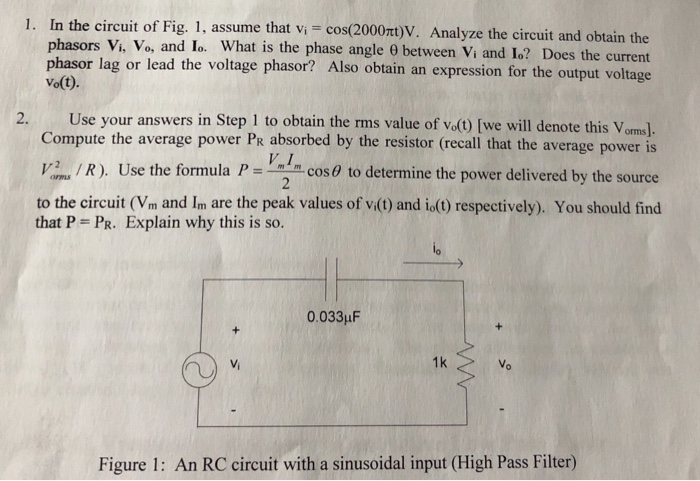 Solved 1 In The Circuit Of Fig 1 Assume That Vi Cos Chegg Com