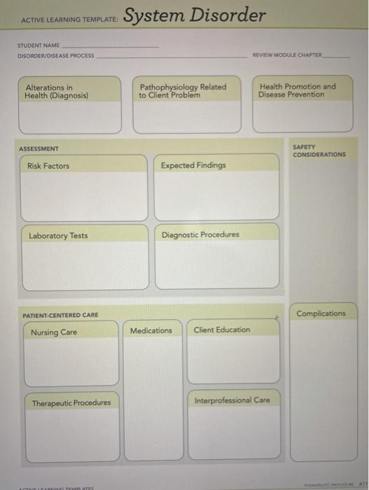 ACTIVE LEARNING TEMPLATE: System Disorder STUDENT NAME DISORDER/DISEASE PROCESS REVIEW MODULE CHAPTER Alterations in Health (