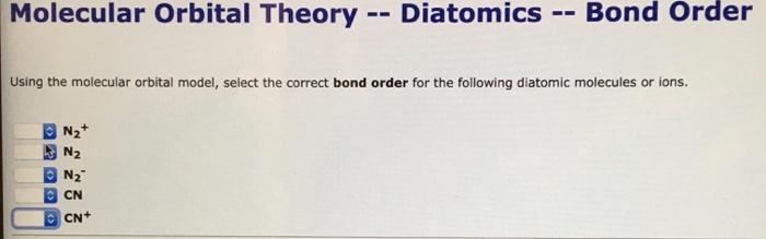 Solved Molecular Orbital Theory Theory Homodiatomics U Chegg Com
