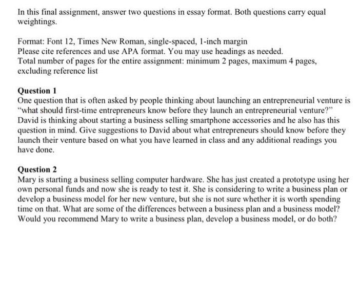 Solved: In This Final Assignment, Answer Two Questions In ...