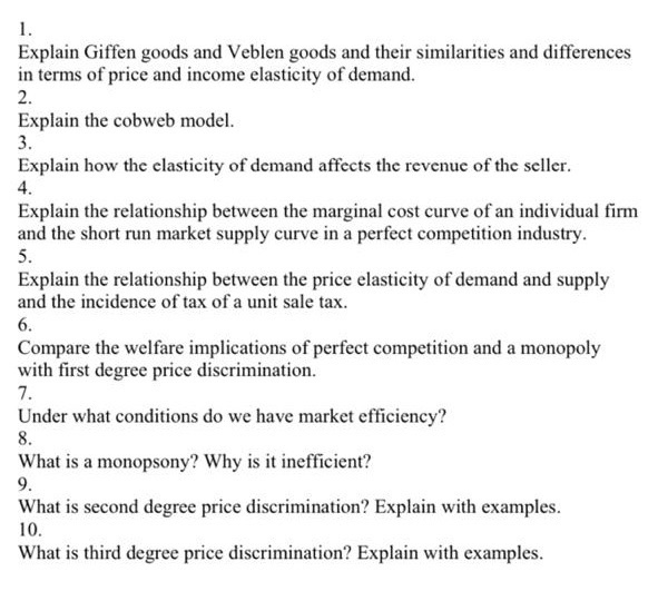Solved Explain Giffen Goods And Veblen Goods And Their Si