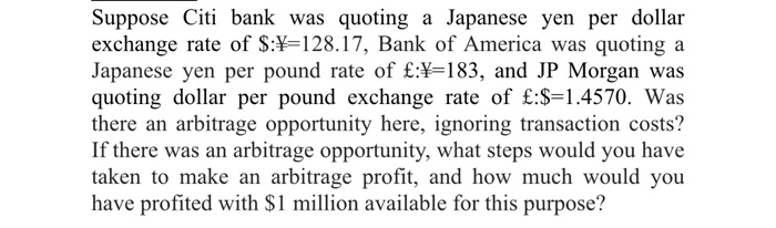 Solved Suppose Citi Bank Was Quoting A