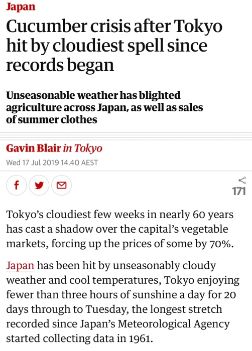 Solved: Japan Cucumber Crisis After Tokyo Hit By Cloudiest