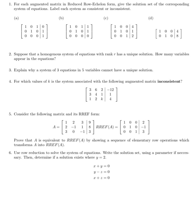 Solved: 1. For Each Augmented Matrix In Reduced Row-Echelo... | Chegg.com
