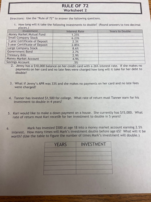 RULE OF 72 Worksheet 2 Directions: Use the Rule of 72 to answer the following questions. 1. How long will it take the follo