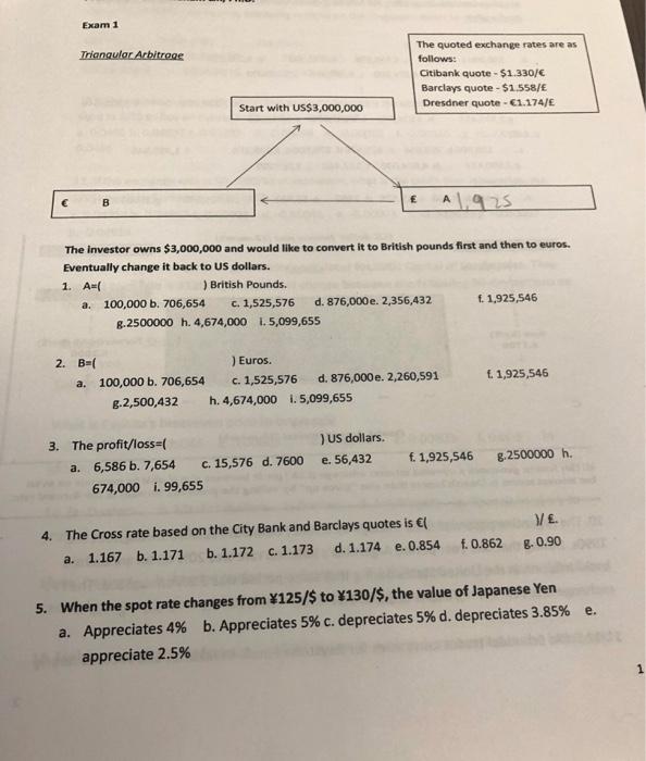 Exam 1 Triangular Arbitrage The Quoted