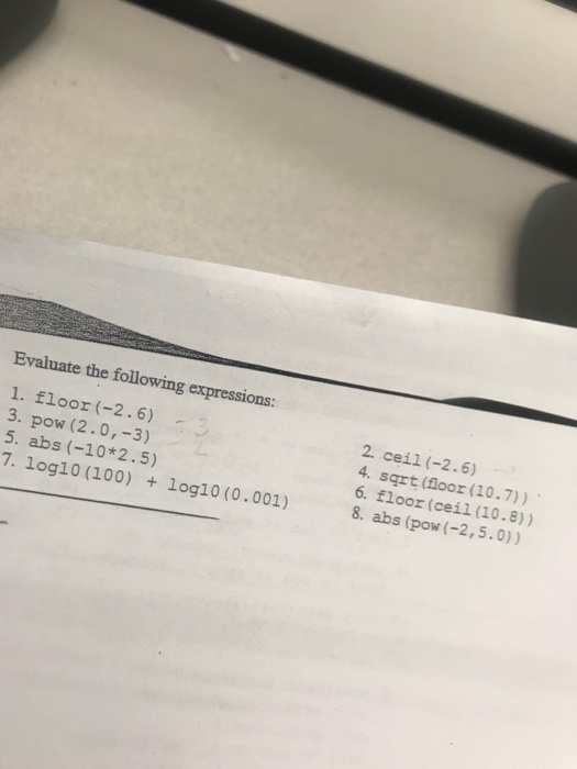 Evaluate The Following Expressions
