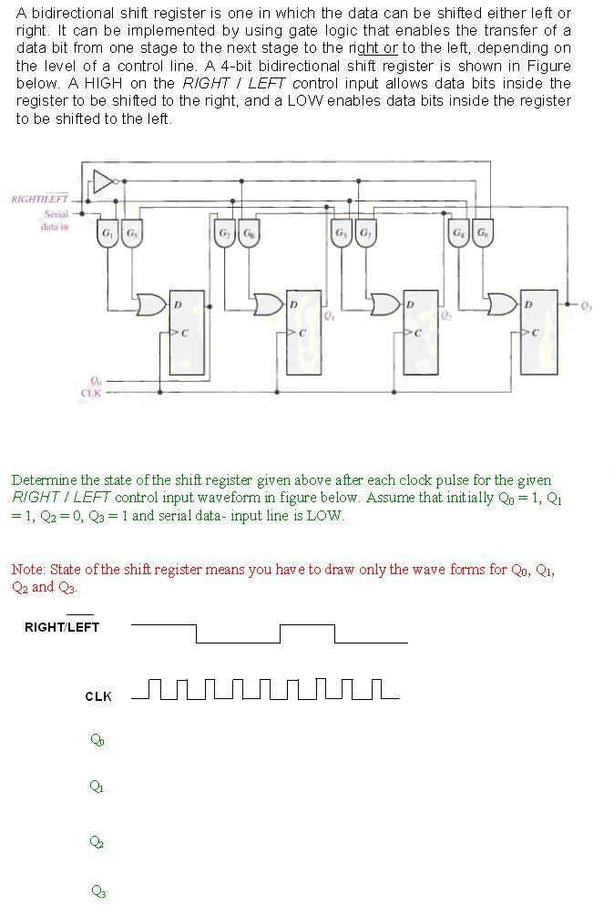 Solved A Bidirectional Shift Register Is One In Which The Chegg Com