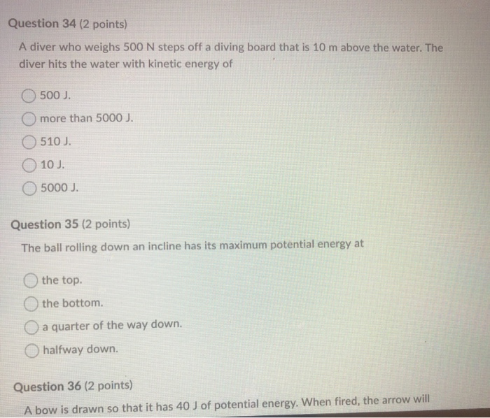 Solved: Question 34 (2 Points) A Diver Who Weighs 500 N St ...