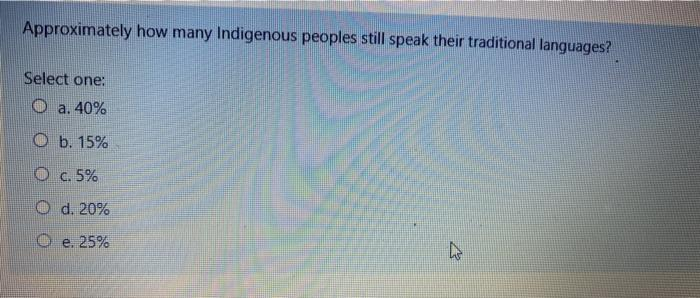 Approximately how many Indigenous peoples still speak their traditional languages? Select one: O a. 40% O b. 15% O c. 5% O d.